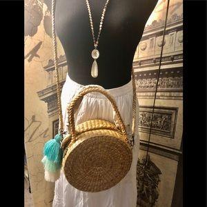 Fun straw shoulder bag made in Thailand